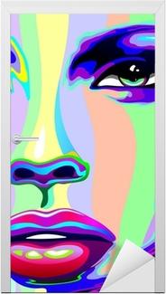 Girl's Portrait Psychedelic Rainbow-Viso Ragazza Psychedelico Door Sticker
