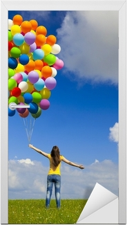 Girl with colorful balloons Door Sticker