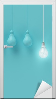 Hanging light bulbs with glowing one different idea on light blue background , Minimal concept idea , flat lay , top Door Sticker