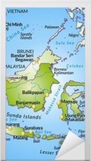 Landkarte von Indonesien mit Hauptstädten und Nachbarländern Door Sticker