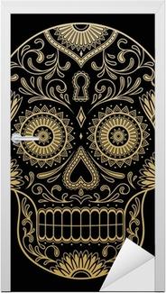 Ornate One Color Sugar Skull Door Sticker