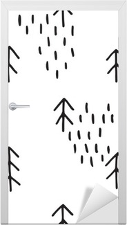 Scandinavian pattern with fir trees. Seamless winter patterns, hand drawn in black ink. Perfect for gift wrapping or printing on fabric. Seamless minimal christmas pattern. Door Sticker
