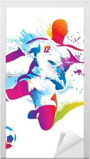 Soccer player kicks the ball. The colorful vector illustration Door Sticker