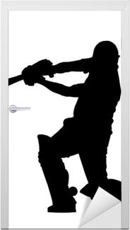 Sport Silhouette - Cricket Batsman Hitting Ground Stroke Door Sticker