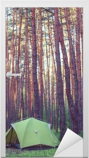 Tent in the forest Door Sticker