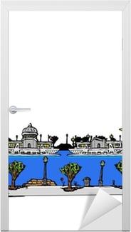 The artist city of Paris comic strip drawing illustration Door Sticker