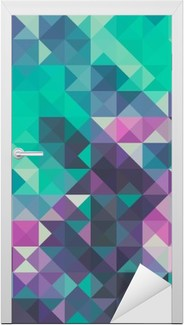 Triangle background, green and violet Door Sticker