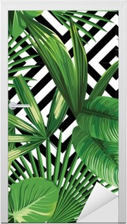 tropical palm leaves pattern, geometric background Door Sticker