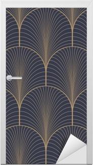 Vintage tan blue and brown seamless art deco wallpaper pattern vector Door Sticker