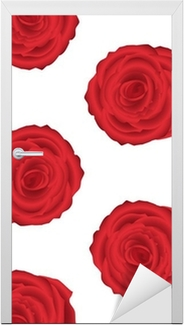 Wallpaper Pattern With Of Red Roses On White Background Wall Mural O PixersR We Live To Change