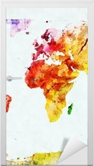 Watercolor world map Door Sticker