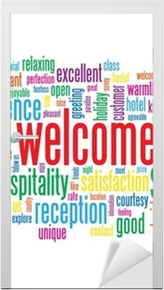 Welcome tag cloud customer service greetings smile card sign wall welcome tag cloud customer service greetings smile card sign wall mural pixers we live to change m4hsunfo