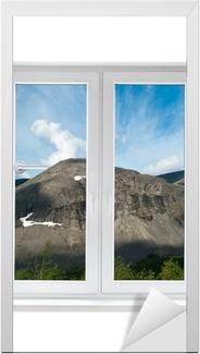 White plastic double door window with view to tranquil landscape Door Sticker