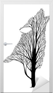 Wolf howl blend tree drawing tattoo vector Door Sticker