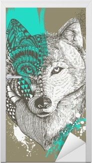 Zentangle stylized wolf with paint splatters, Hand drawn illustration Door Sticker