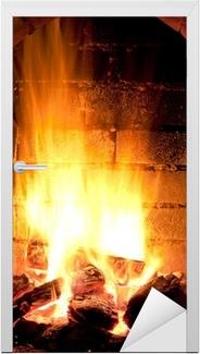 Brand i pejs Dør klistemærke