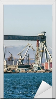 Gantry Crane i Shipyard of Gdynia, Polen. Dør klistemærke