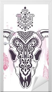 Tribal dyreskalle illustration med etniske ornamenter Dør klistemærke