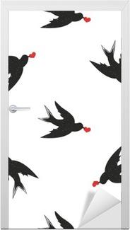 Vektor sømløs mønster med håndtegnede vintage stil sorte svale og hjerter Dør klistemærke