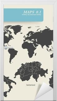 Verdenskort Og Detaljerede Kort Over Tyskland Schweiz Og Italien