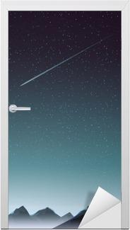 Dørklistremerke Fjellperspektiv med komet om natten