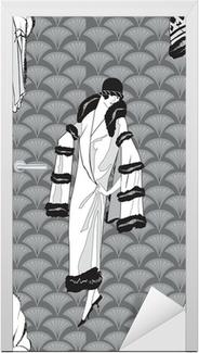 Dørklistremerke Flapper girls (20 s stil) sømløs mønster: Retro bakgrunn