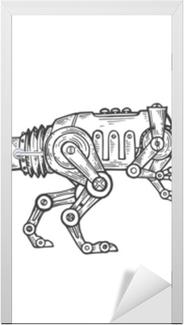 Dørklistremerke Mekanisk dinosaur dyr gravering vektor