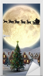 Dørklistremerke Sammensatt bilde av søte jullandsby