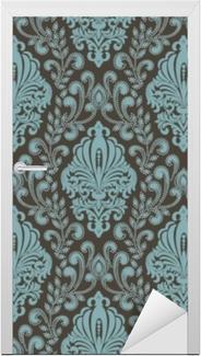Dørklistremerke Vektor damask sømløst mønster bakgrunn. klassisk luksus gammeldags damask ornament, kongelig viktoriansk sømløs tekstur for bakgrunnsbilder, tekstil, innpakning. utsøkt floral barokkmal