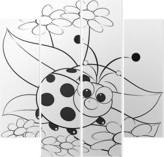 Lady Bug Ile çiçek üzerinde Kedi Duvar Resmi Pixers Haydi