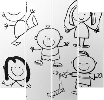 Mutlu çocuklar Karikatür Boyama Kitabı çerçeveli Poster Pixers