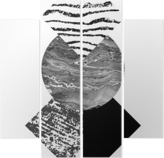 Dört Parçalı Özet geometri suluboya ve grunge dokular ile şekiller