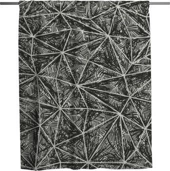 Douchegordijn Abstract artistieke hand getekende patroon. Wire-framedriehoek struct