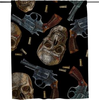 Douchegordijn Borduurwerk schedels en geweren naadloos patroon. wilde westen borduurwerk oude revolvers en menselijke schedels, gangster gotische achtergrond