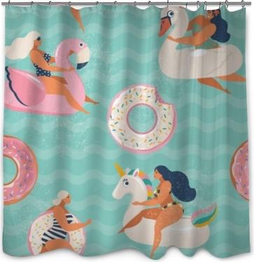 Douchegordijn Flamingo, eenhoorn, zwaan en zoete donut opblaasbare zwembad drijft vector naadloze patroon.