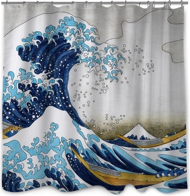 Douchegordijn Hokusai de grote golf van kanagawa volwassen kleurplaat - Grafische Bronnen