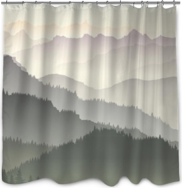 Douchegordijn Horizontale illustratie van twilight in forest hills. - Landschappen