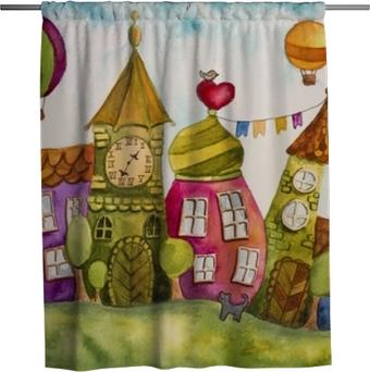 Douchegordijn Kleurrijke fee huizen