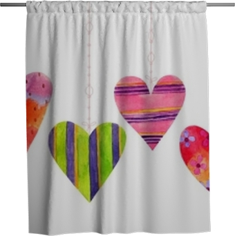 Douchegordijn Mooie cartoon aquarel naadloze liefde harten valentines patroon, items van een verzameling en illustraties geïsoleerd op een witte achtergrond. perfect voor valentijns vakantie. goed voor liefdeskaart