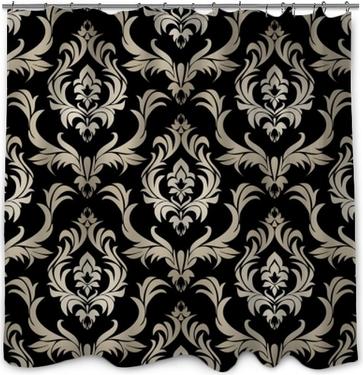 Douchegordijn Naadloos retro damastbehang - zilveren bloemenornament op zwarte.