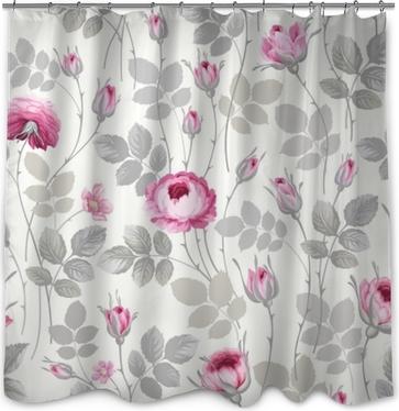 Douchegordijn Naadloze bloemmotief met rozen in pastel kleuren