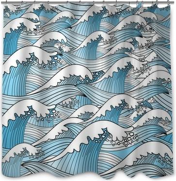 Douchegordijn Textuur van zeegolven