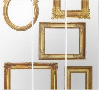 Drieluik 5 oude houten frames op een witte achtergrond gouden
