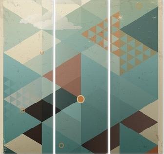 Drieluik Abstracte Retro Geometrische Achtergrond met wolken