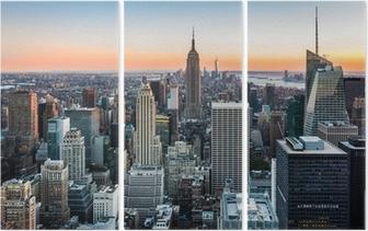 Drieluik De horizon van New York bij zonsondergang