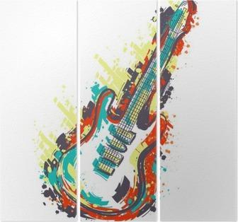 Drieluik Elektrische gitaar. Hand getrokken grunge stijl kunst. Retro banner, kaart, t-shirt, tas, print, poster.Vintage kleurrijke hand getrokken vector illustratie