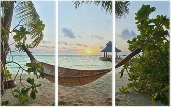 Drieluik Hangmat op het strand