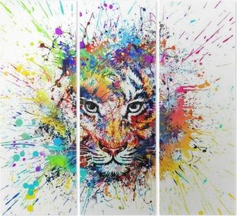 Drieluik Heldere achtergrond met tijger