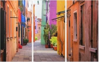 Drieluik Kleurrijke straat in Italië