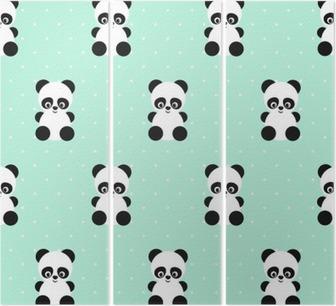 Drieluik Panda naadloos patroon op stippen groene achtergrond. Leuk ontwerp voor print op de kleding van de baby, textiel, behang, stof. Vector achtergrond met lachende baby dier panda. Kind stijl illustratie.